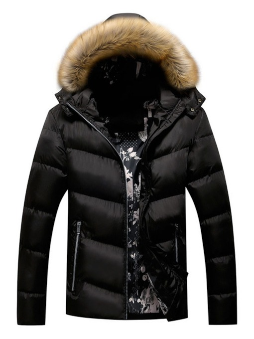 Standard Hooded Zipper European Men's Down Jacket