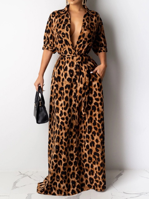 Print Floor-Length Half Sleeve Lapel Mid Waist Women's Dress