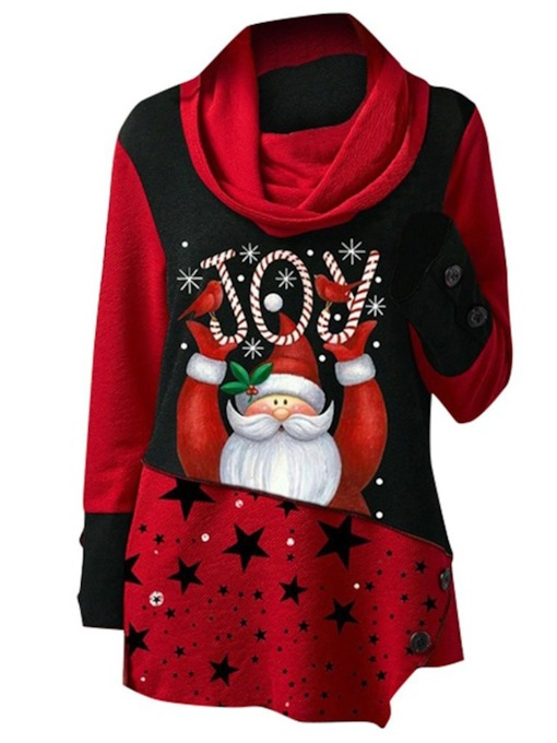 Print Regular Cartoon Mid-Length Christmas Women's Hoodie
