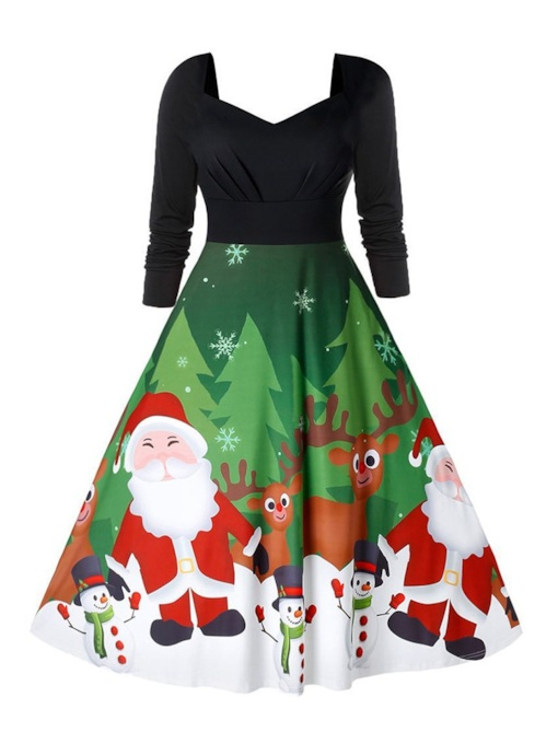 Christmas Mid-Calf Nine Points Sleeve Patchwork Regular Women's Dress