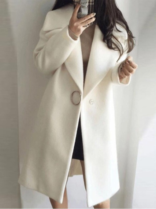 One Button Loose Long Women's Overcoat