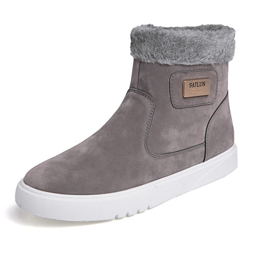 Side Zipper Round Toe Suede Men's Snow Boots