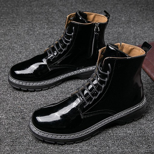 Round Toe Flat With Side Zipper Plain Men's Martin Boots