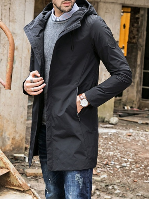 Mid-Length Zipper Plain Hooded Casual Men's Trench Coat