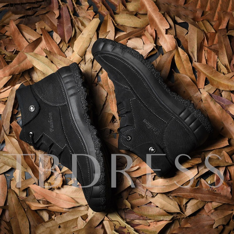 Lace-Up Front Round Toe PU Casual Men's Boots