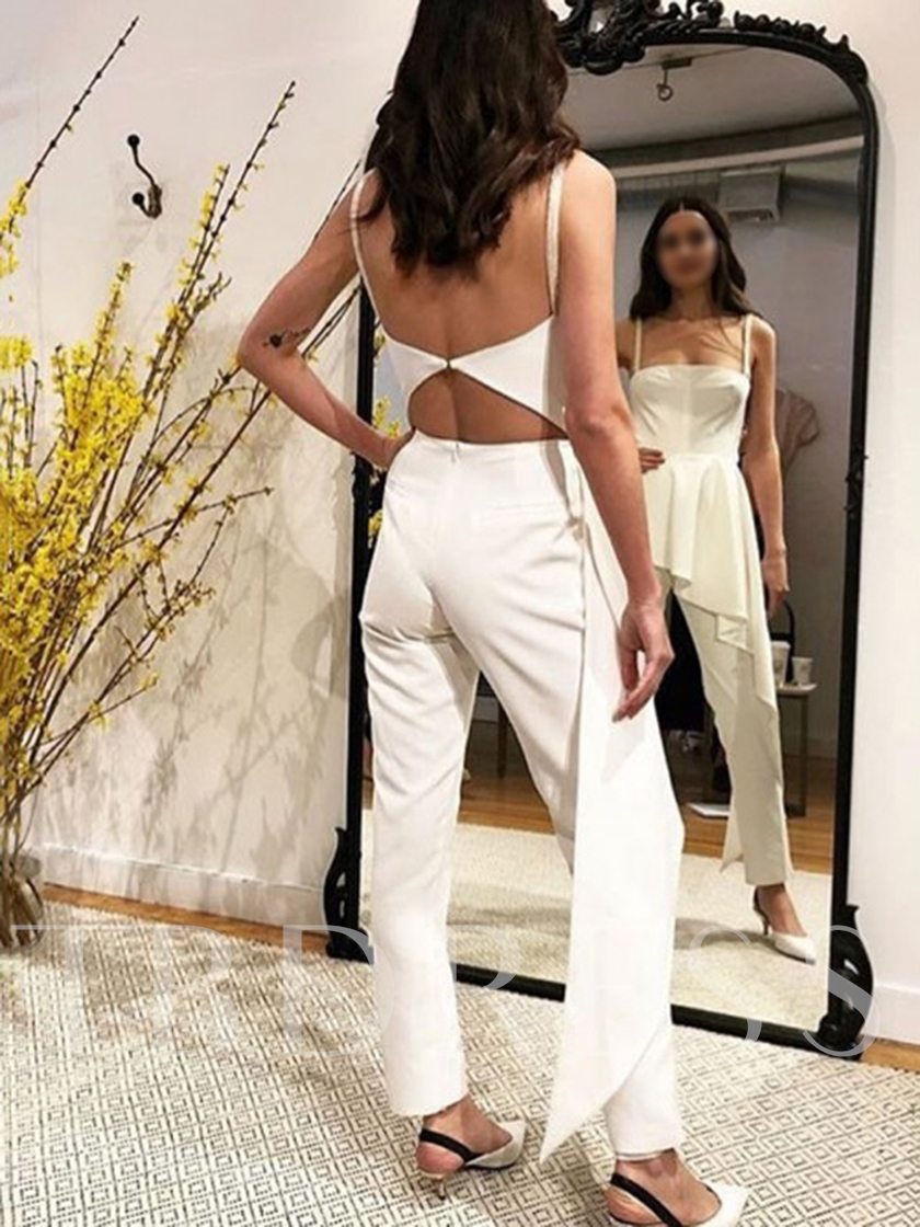 Spaghetti Straps Hollow Column Outdoor Wedding Jumpsuits 2019