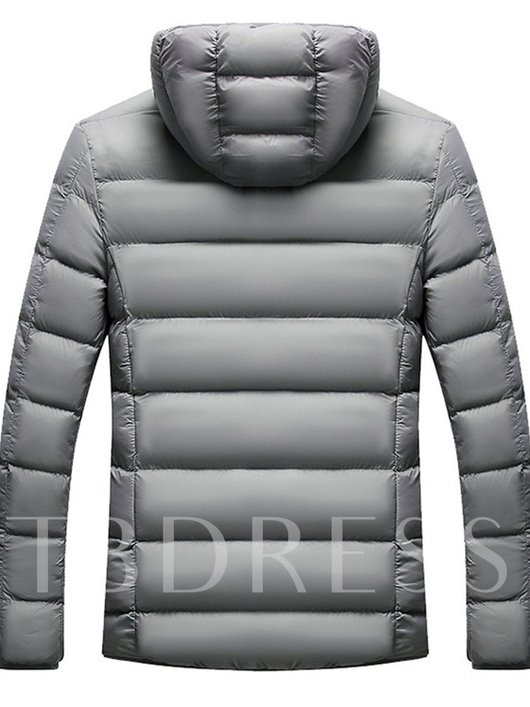 Plain Standard Hooded Zipper European Men's Down Jacket