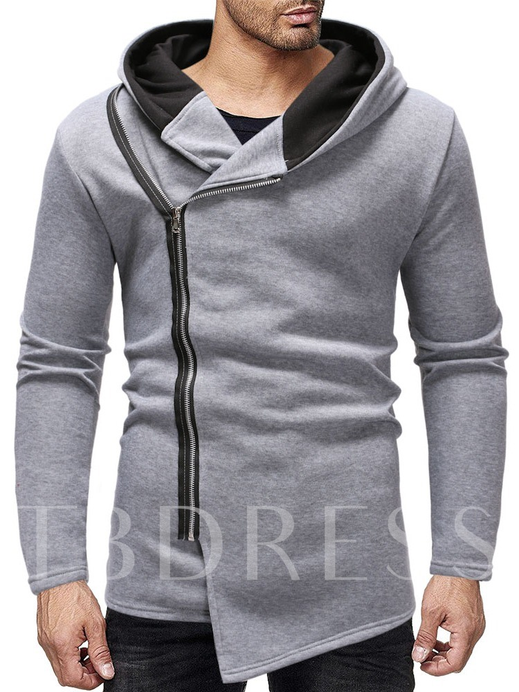 Cardigan Thick Color Block Asymmetric Casual Men's Hoodies