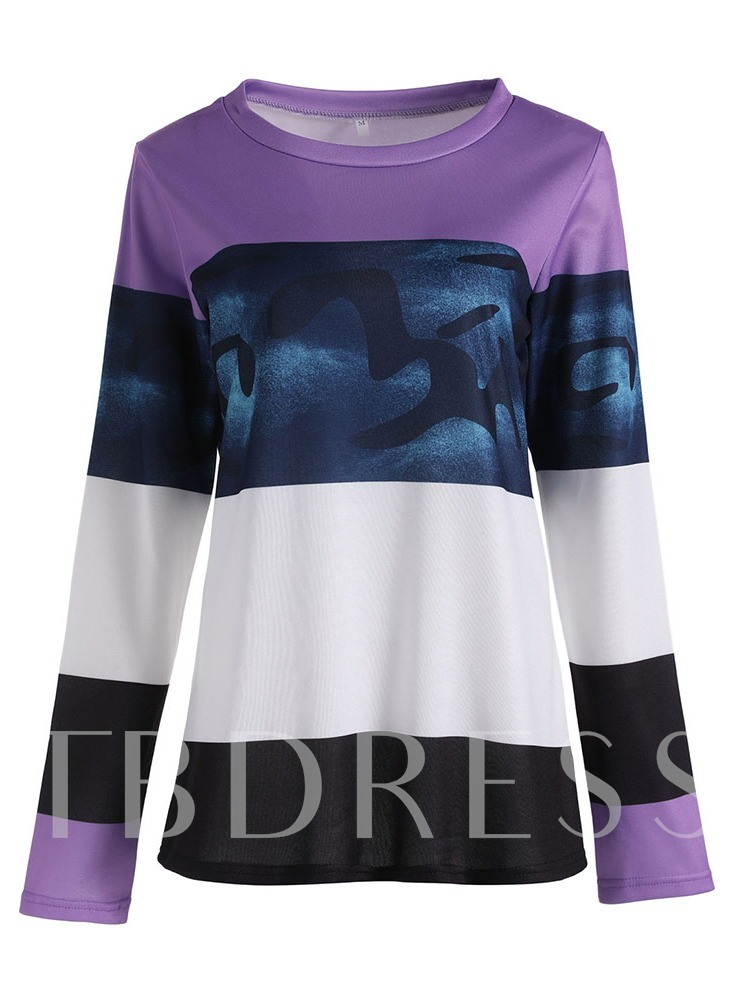 Round Neck Mid-Length Long Sleeve Color Block Loose Women's T-Shirt