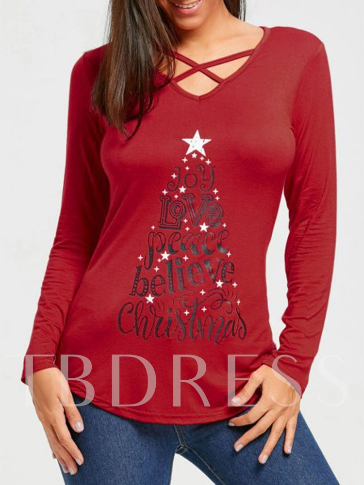 Long Sleeve Mid-Length V-Neck Color Block Casual Christmas Women's T-Shirt