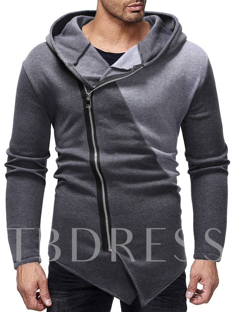 Cardigan Color Block Zipper Men's Hoodies