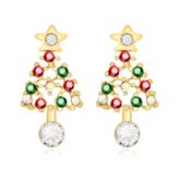 Christmas Color Block Alloy Sweet Drop Earrings