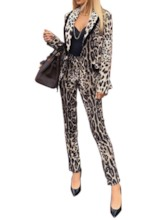 Casual Leopard Coat and Pencil Pants Women's Two Piece Sets