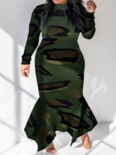 Print Floor-Length Long Sleeve Stand Collar Regular Women's Dress