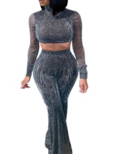 Plain Casual Pullover Sequin Women's Two Piece Sets