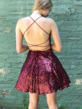 Spaghetti Straps Short Sequins Cocktail Dress