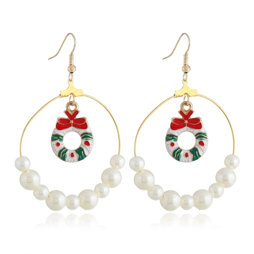 Christmas Pearl European Oil Drip Earrings