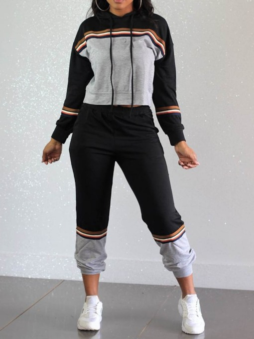 Mid-Calf Color Block Casual Pullover Women's Two Piece Sets
