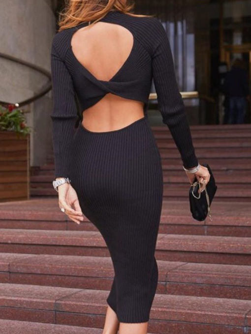 Mid-Calf Round Neck Backless Long Sleeve Pullover Women's Dress