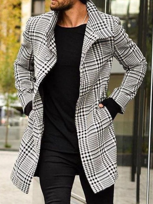 Button Long Plaid Lapel A Line Men's Coat