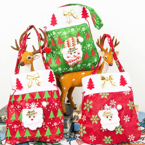 Christmas Print Cartoon Barrel-Shaped Tote Bags Candy Bags