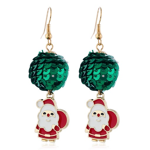 Christmas Oil Drip European Alloy Drop Earrings