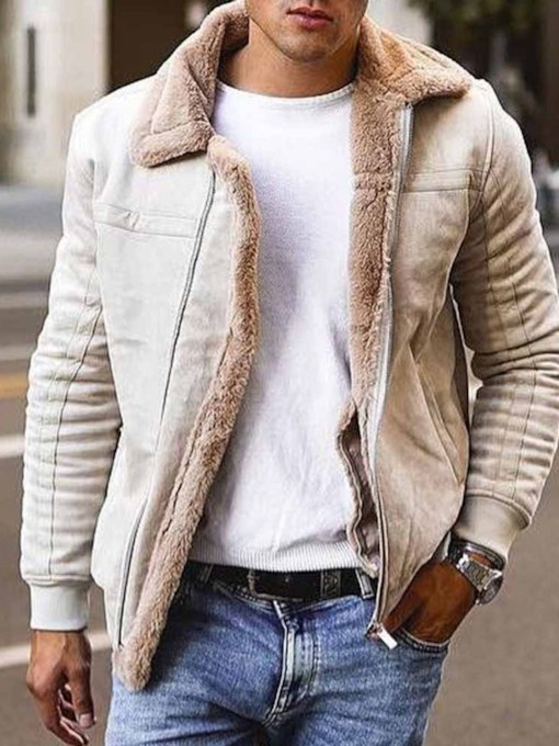 Lapel Patchwork Casual Men's Slim Jacket