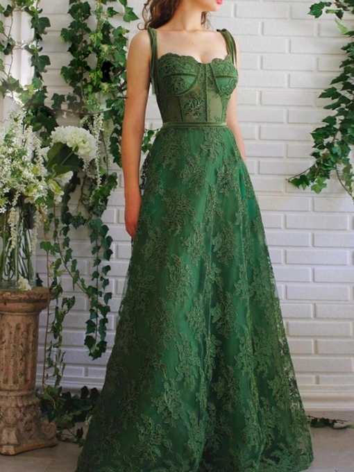 Straps Lace Appliques Evening Dress 2020