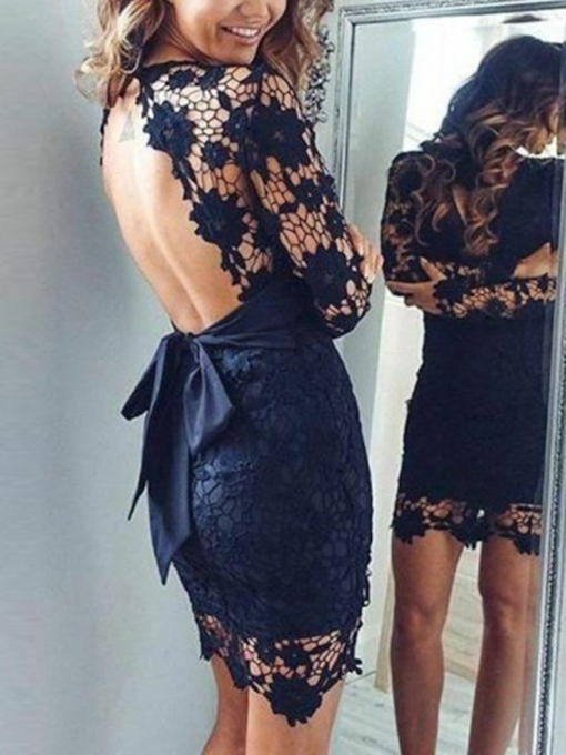 V-Neck Sheath Backless Lace Cocktail Dress