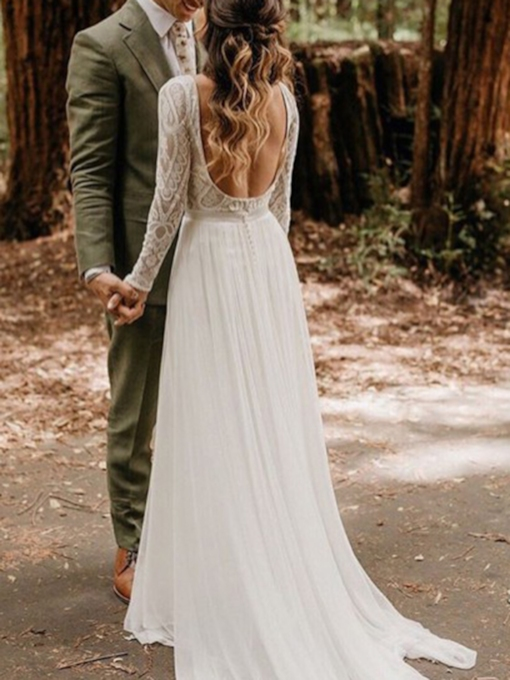 Long Sleeves Chiffon Backless Bateau Boho Lace Wedding Dress