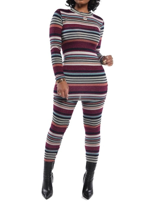 Casual Color Block Pullover Stripe Women's Two Piece Sets