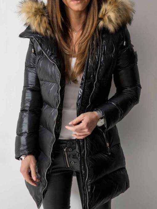 Patchwork Straight Zipper Mid-Length Women's Cotton Padded Jacket