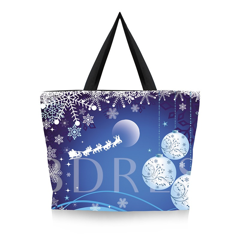 Christmas Canvas Cartoon Print Rectangle Tote Bags