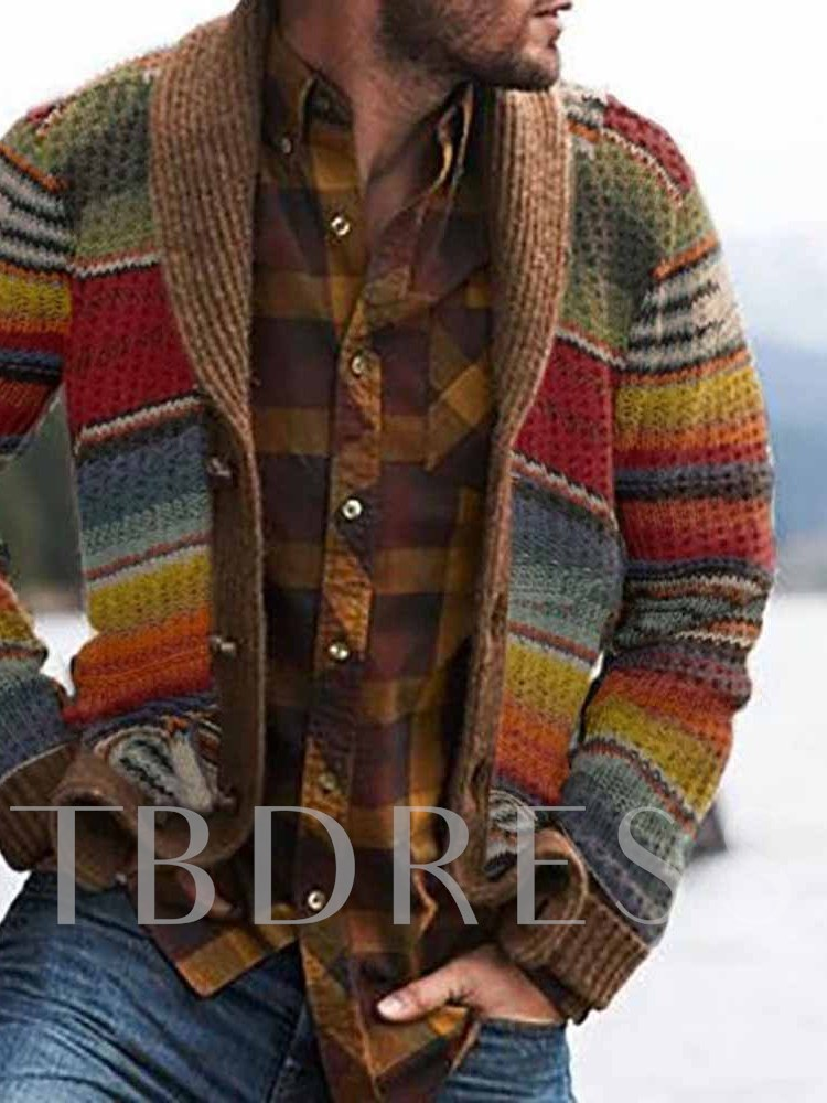 Color Block Button Standard Single-Breasted Men's Sweater