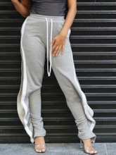 Loose Color Block Split Full Length Women's Casual Pants