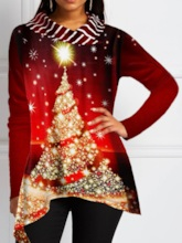 Long Sleeve Mid-Length Casual Christmas Women's T-Shirt