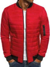Standard Stand Collar Color Block Patchwork Casual Men's Down Jacket