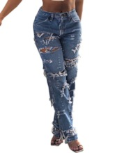 Hole Straight Slim Women's Jeans