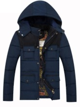 Patchwork Standard Color Block Hooded Men's Down Jacket
