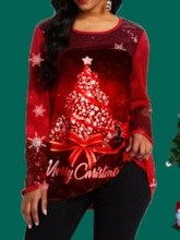 Round Neck Mid-Length Long Sleeve Loose Christmas Women's T-Shirt