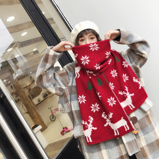 Christmas Deer Woolen Yarn Cartoon Scarves