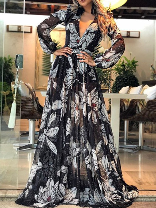 Long Sleeve Floor-Length Print V-Neck A-Line Women's Dress