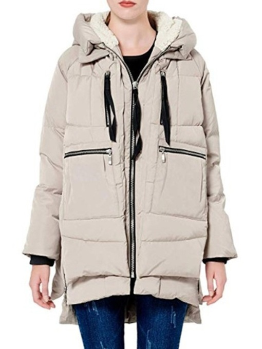 Pocket Zipper Straight Mid-Length Women's Cotton Padded Jacket
