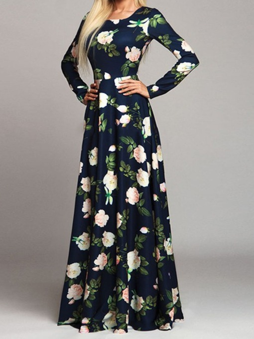 Print Long Sleeve Floor-Length Round Neck Floral Women's Dress