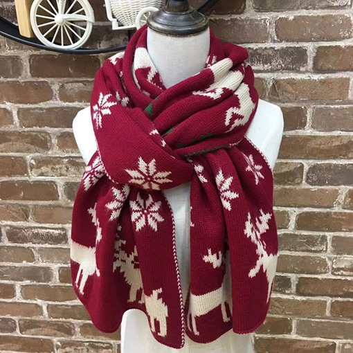 Christmas Deer Print Fashion Woolen Yarn Cartoon Scarves