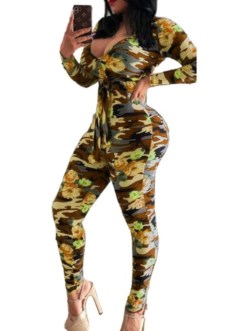 Color Block Print Full Length Casual Women's Jumpsuit