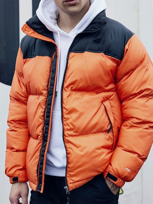 Color Block Standard Zipper Casual Men's Down Jacket