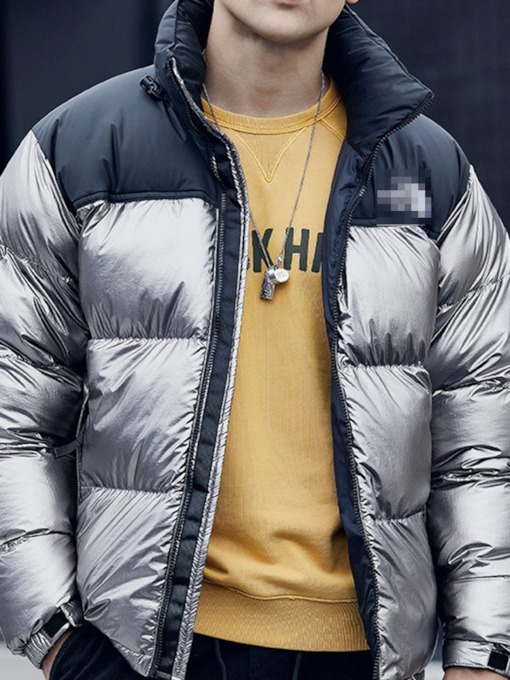 Color Block Standard Zipper Men's Down Jacket