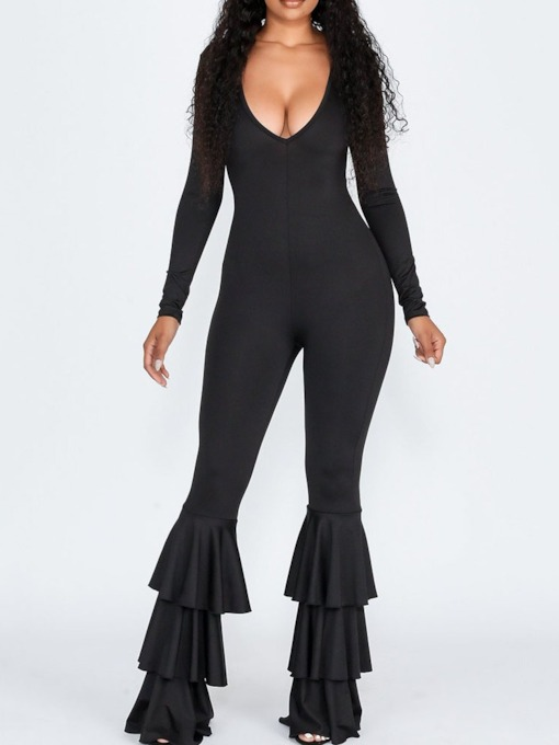 Full Length Plain Casual Slim Women's Jumpsuit