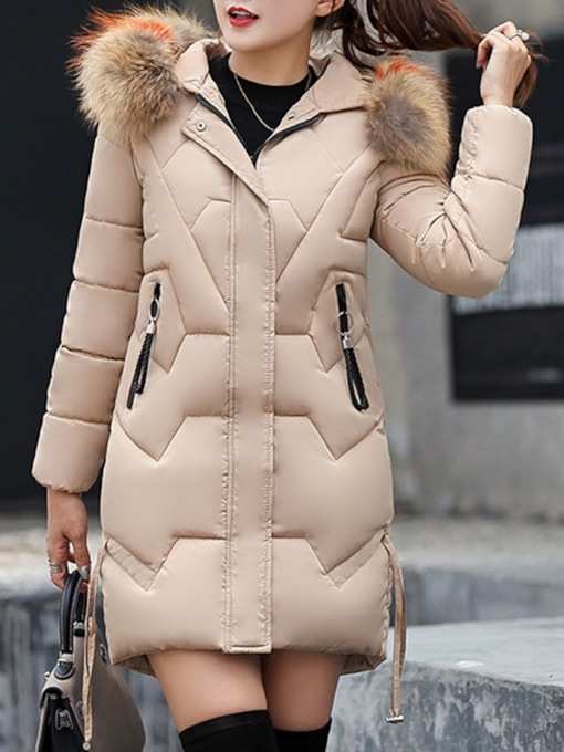 Zipper Slim Patchwork Mid-Length Fashion Women's Cotton Padded Jacket